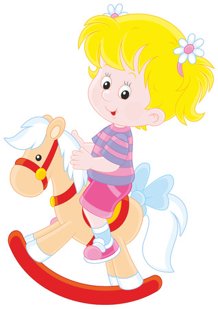 playschool: Happy little girl riding a toy horse