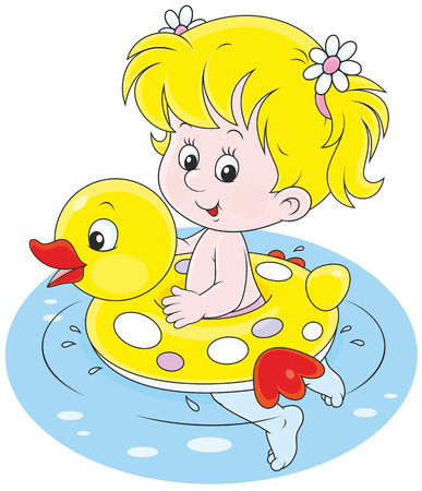 rubber ring: Happy little girl swimming with an inflatable rubber ring