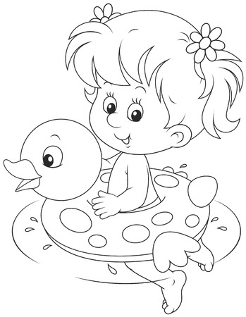 kiddy: Girl with a rubber ring Illustration