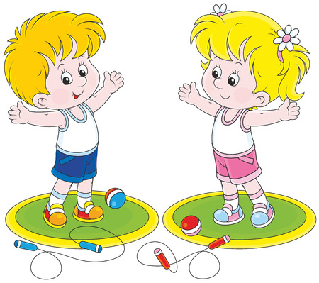 physical exercise: Girl and boy doing morning exercises