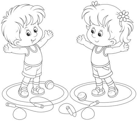 little boy and girl: Morning workout