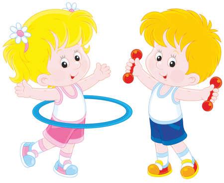 gymnastik: Mädchen und Jungen tun Gymnastik-Übungen Illustration