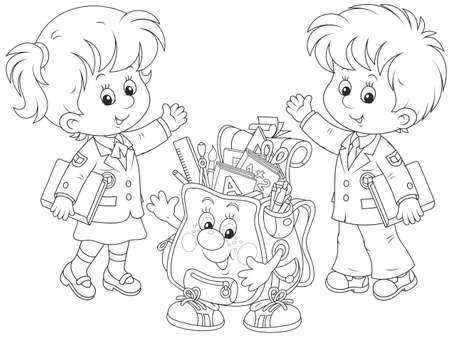 1 school bag: Welcome back to school Illustration