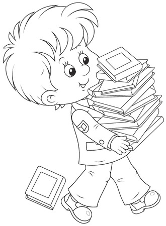 textbooks: Schoolboy with textbooks