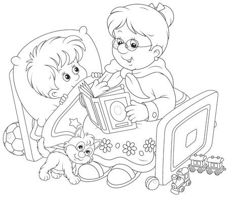 Granny and grandson reading fairytales Illustration