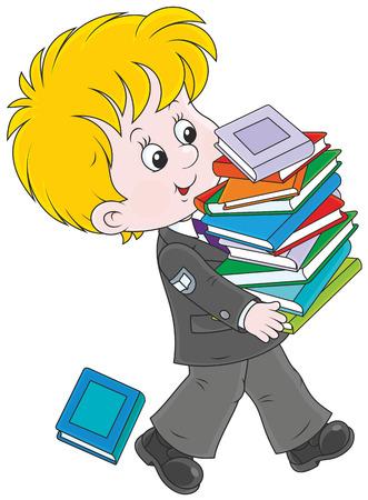 ni�os saliendo de la escuela: Colegial con los libros de texto Vectores