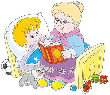 middle age woman: Granny and grandson reading fairytales Illustration