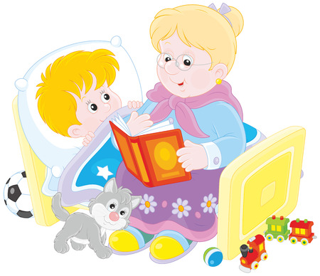 woman middle age: Granny and grandson reading fairytales Illustration