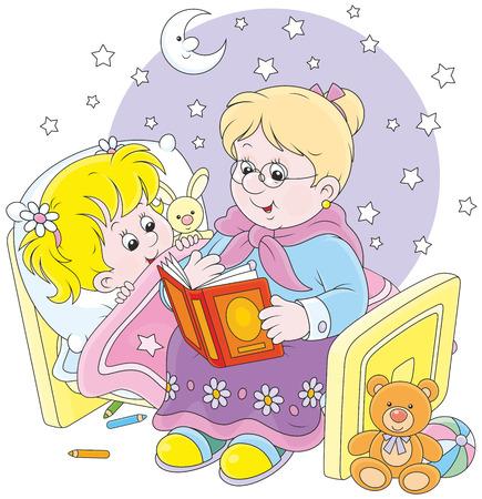 grand kid: Granny and granddaughter reading