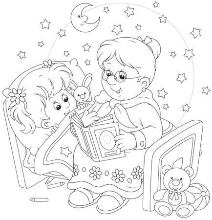 personas escuchando: Abuela y nieta de lectura