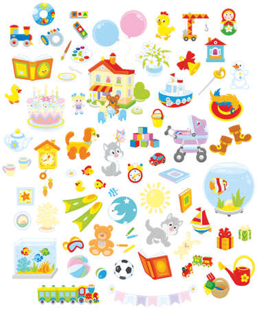 carritos de juguete: Conjunto de juguetes divertidos vector, mascotas, regalos y otros objetos sobre un fondo blanco