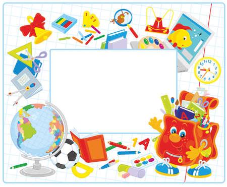 utiles escolares: Escuela marco  Vectores