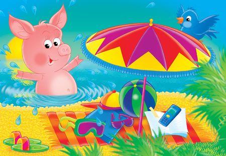 Pig on a beach.