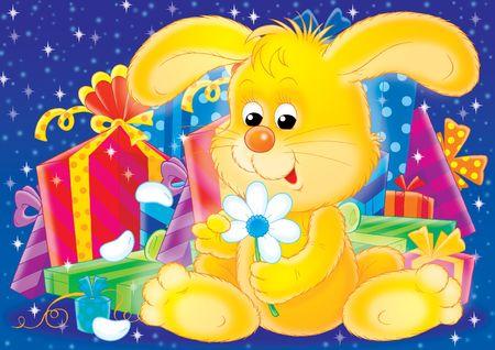 Conejo con regalos para unas vacaciones.