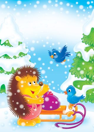 Hedgehog  and bird in a New Years wood.