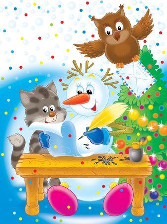 owl illustration: Snowball writes the letter to Santa. Stock Photo
