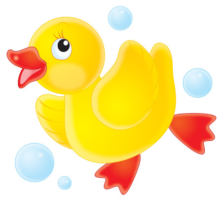 cartoon bathing: Duckling