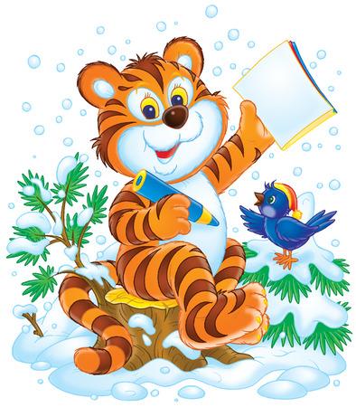 tigre caricatura: Tigre y aves