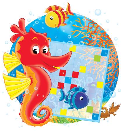 algas marinas: Mar caballo y crucigramas