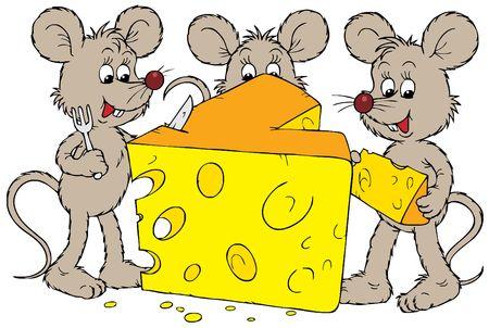 mice: Ratones y queso  Foto de archivo
