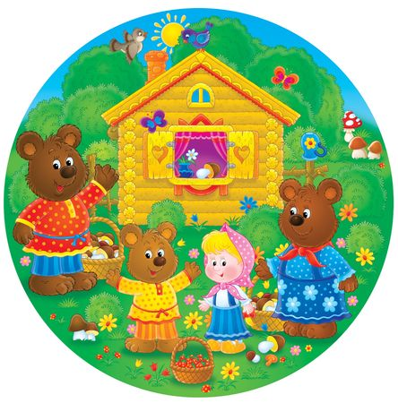 homestead: Three bears and little girl Stock Photo