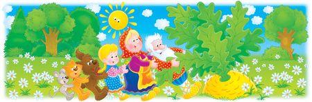 popular tale: Grandpa, grandma, granddaughter and big turnip Stock Photo