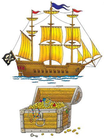 barco pirata: Barco pirata y tesoros en el pecho