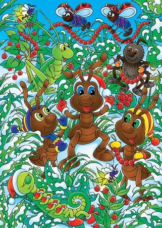xm: Ants make the Christmas decorations Stock Photo
