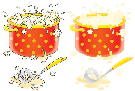borscht: Pot with cooking soup and ladle (color and black contours) Stock Photo