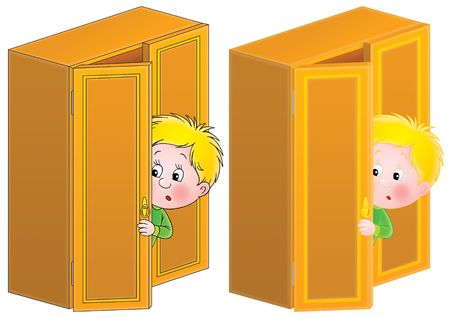 boyish: Little boy in fright is hiding in the dresser (color and black contours)