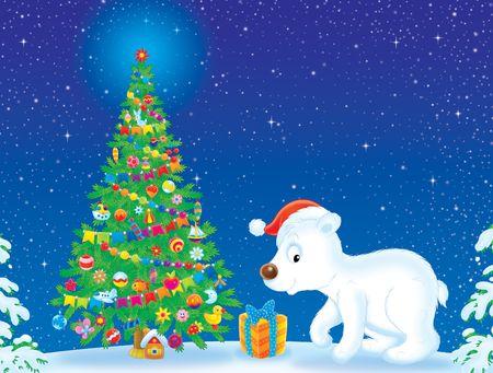 Polar Bear uso de gorro de Navidad, cerca de �rboles de Navidad Foto de archivo