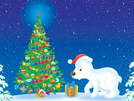 newyear night: Polar Bear wearing Christmas cap near Christmas tree