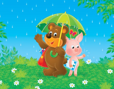 rainy season: Bear-cub and piglet in the rain