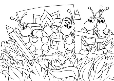 coloring book page: Ants - artists