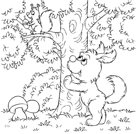 coloring book page: Dog and squirrel