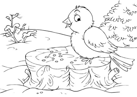coloring book page: Bird sitting on a stump