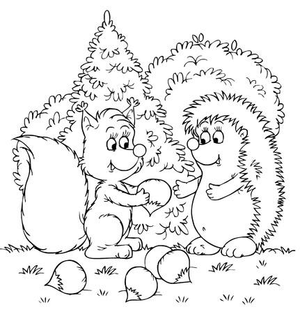 black squirrel: Squirrel and hedgehog with nuts