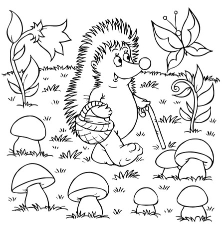 coloring book page: Hedgehog gathers mushrooms