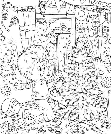 cartoon christmas tree: Boy decorates his room for Christmas