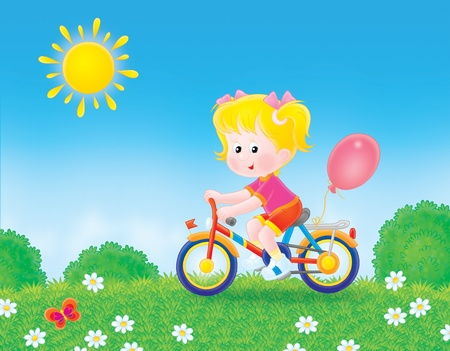 children  s: Girl riding her bicycle on the grass Stock Photo