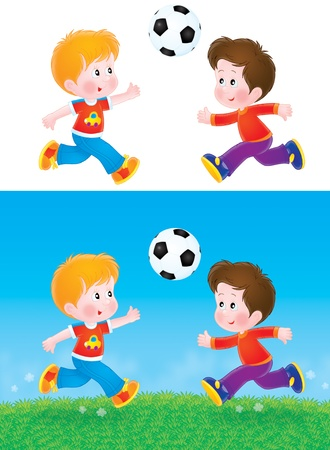 playgrounds: Boys playing football Stock Photo