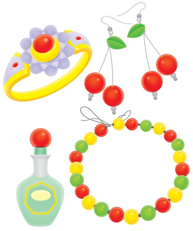 bedeck: glass beads, earrings, ring and scent Stock Photo