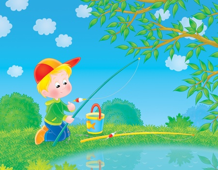 fishers: little boy who fishes with a rod and line in a pond Stock Photo