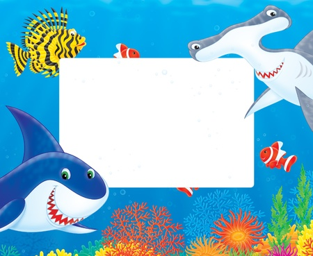eater: Sea frame with sharks and fishes Illustration