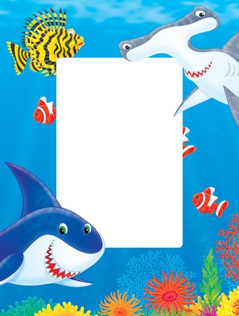 man eater: Illustration Sea frame with sharks and fishes Stock Photo