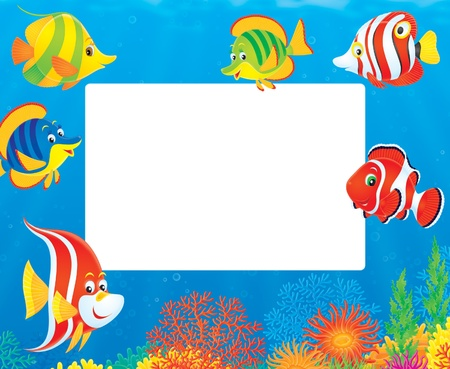 fishy: Underwater border of colorful tropical fish Illustration