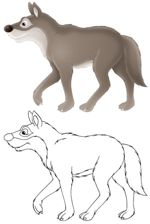 lineart: grey wolf Stock Photo