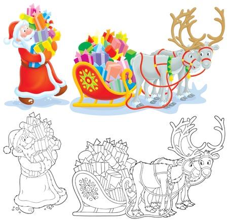 pull toy: Santa cargas regalos de Navidad en un trineo Foto de archivo