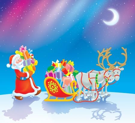 pull toy: Santa cargando regalos de Navidad en su trineo