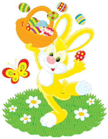 grass plot: Easter Bunny dancing with a basket of eggs